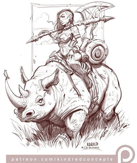 """Shasta Rhino"", illustrated by @kindredconcepts ✴ PLEASE TAG THE ARTIST WHEN REPOSTING THIS ART ON YOUR PAGE ✴ #fantasyart #fantasy #ilovefantasyart #nubiamancy #conceptart #rhino #deviantart #cgsociety #artstagram #artstation #behance #dopeart #africanart #africanamerican #africanamericanart #blackart #blackartist #illustrations #illustrators #illustrazione #pixiv #sketches #sketchy #sketchart #rhinoceros #patreon"