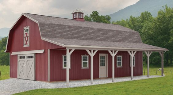 Timber frame garage gambrel dutch barn garage styles for Gambrel barns for sale