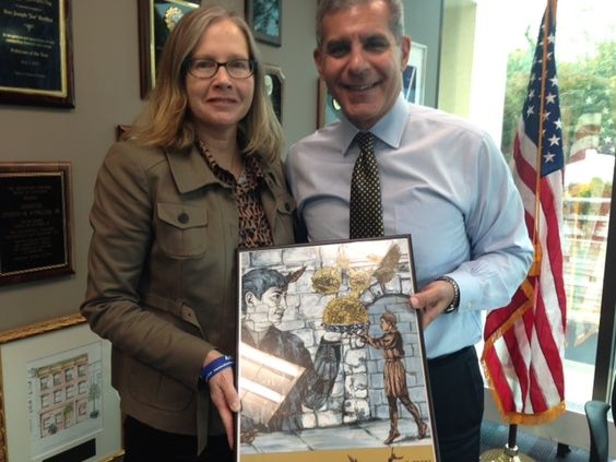 Mary Eileen Fouratt of Monmouth Arts, presenting the first #FoodWaterAirArt print to Senator Joe Kyrillos, 13th District!