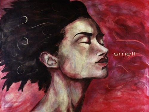 """Smell – das zweite Motiv aus der Reihe """"The five Senses"""". Gemälde von 2003, Acryl auf Goldlack. Digipaint von Smell auf Leinwand kaufen bei FineartPrint.de - See more at: http://admeyerart.de/smell/#sthash.2fJrAqAF.dpuf"""
