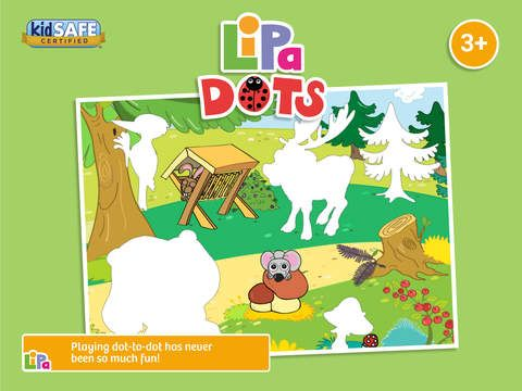 Lipa Dots is a game which will inspire your child to begin learning at the earliest age:  • 	Develops fine motor skills  • Kids Learn about rewards and achievement  • 65 hand drawn animations in 10 beautiful environments  • 	No in-apps or adverts  • 	Never-ending fun!