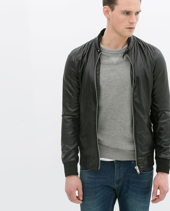 ZARA - MAN - FAUX LEATHER BOMBER JACKET | fashion ideas ...