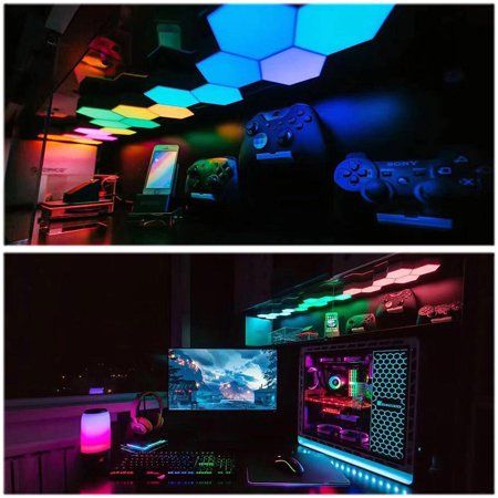 Lifesmart Wifi Smart Led Light Color Changing Splicing Lighting Cololight Voice Control Diy Home Decoration Gift Walmart Com In 2020 Video Game Room Design Video Game Rooms Room Setup