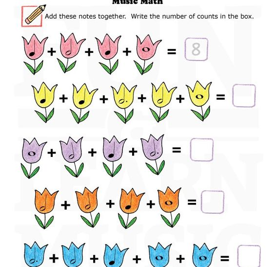 MusicWorksheetsMusicMath004 This site has a ton of music – Music Math Worksheets