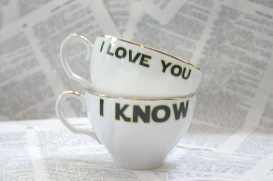 Regency I love you I know altered vintage teacup set. $26.00, via Etsy.