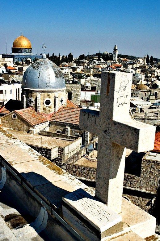 Viagem de Jerusalém.  Símbolos do cristianismo e do islamismo.  Jerusalém visitas guiadas.