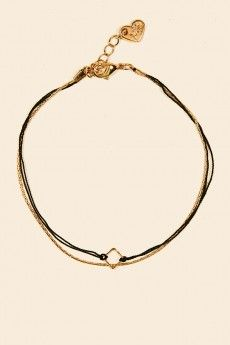 Gold Chain Bracelet With Square And Black Cord