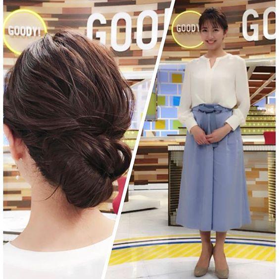 グッディ衣装の白いトップスに水色のパンツ姿の三田友梨佳アナの画像
