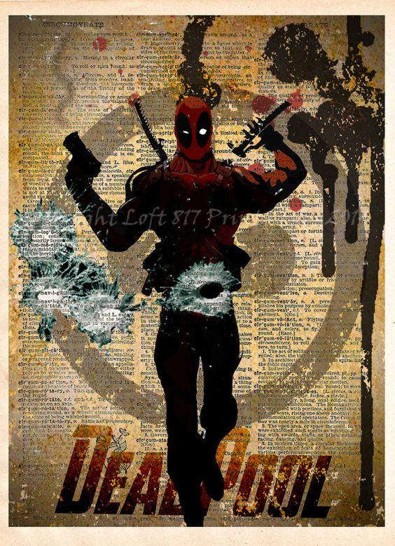 Deadpool poster deadpool wall art vintage dictionary - Poster super heros ...