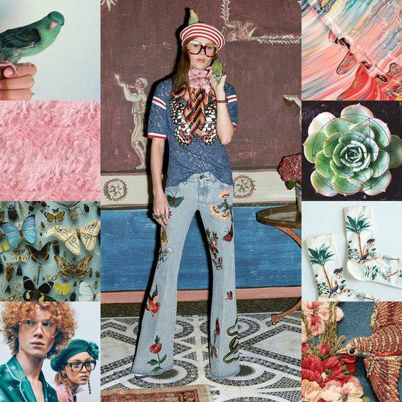 Hé, hé, on dirait bien un beret au crochet en bas à gauche. J'adore et il est vert en plus ♥ Denim Trends: the new '70s — Liberty 4 Fashion