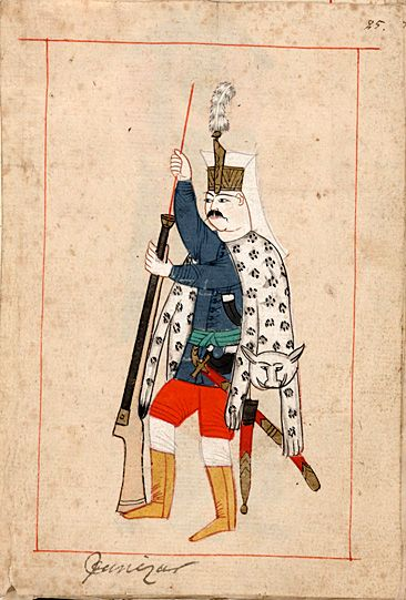 This soldier is dressed as a Janissary with a leopard skin. The 'RÃ¥lamb Costume Book' is a small volume containing 121 miniatures in Indian ink with gouache and some gilding, displaying Turkish officials, occupations and folk types. They were acquired in Constantinople in 1657-58 by Claes RÃ¥lamb who led a Swedish embassy to the Sublime Porte, and arrived in the Swedish Royal Library / Manuscript Department in 1886.