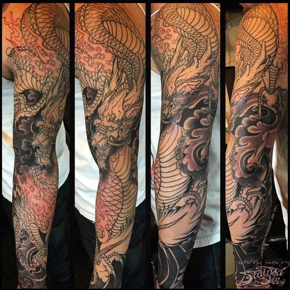 japanese dragon sleeve tattoos black and grey - Google Search