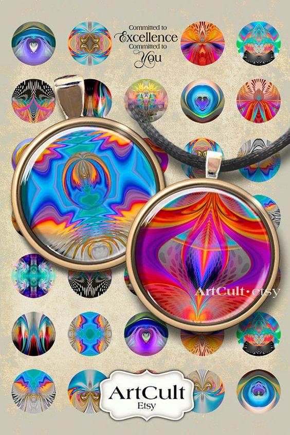 SPIRITUAL ART - Digital Collage Sheet 1 inch Printable Circle Images for pendants bottle caps magnets