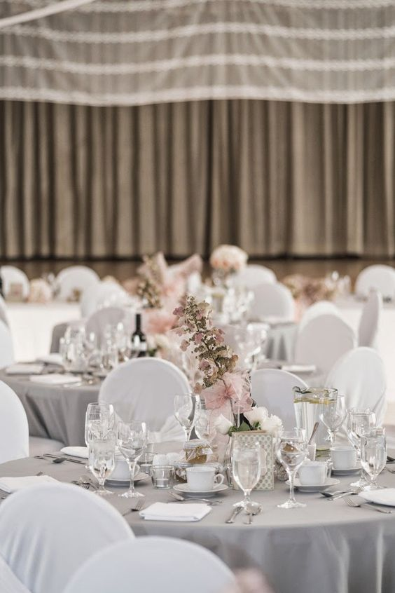 Wedding Reception Decor Soft Grey Table Linens With White