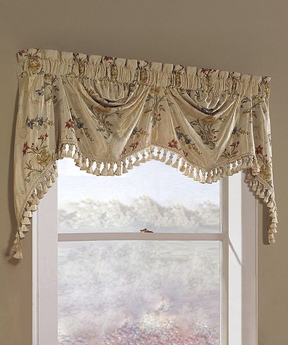 Curtains Ideas austrian valances curtains : Look at this United Curtain Beige Jewel Jacquard Austrian Valance ...