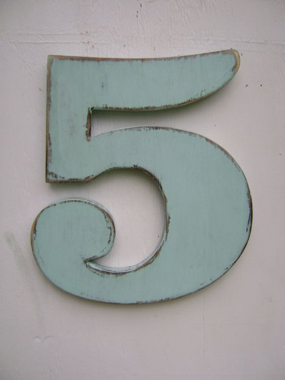 Rustic wood number 5 shabby chic wall hanging rustic wooden numbers- painted Spa Blu
