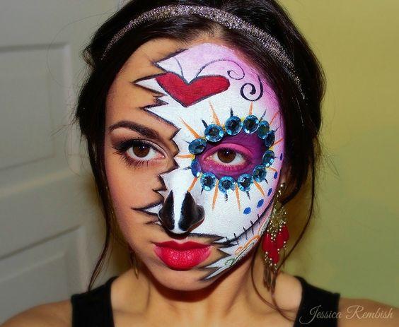 Sugar Skull - Halloween - Makeup - Mehron Paradise Paints - ohsojesss - Jessica Rembish