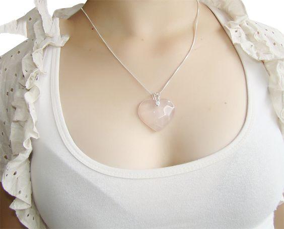 coração quartzo rosa - lindos artigos esotéricos. www.seupoder.com.br