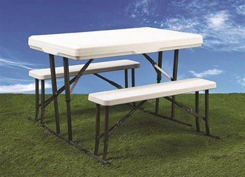 Faulkner 69863 Folding Table And Benches 28 3 4 H X 44 1 2 W With Images Folding Table Table Bench Table