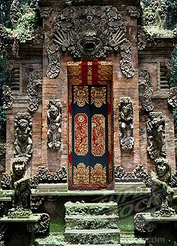 The gate of Monkey Forest Temple - Ubad, Bali, Indonesia.The monkeys took my bananas from me very quickly!!!: