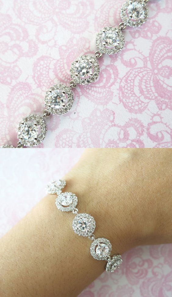 Sparkling Cubic Zirconia Bracelet, gifts for her, sparkly bracelet, silver Bridesmaid bracelet, wedding jewelry, crystal, www.glitzandlove.com