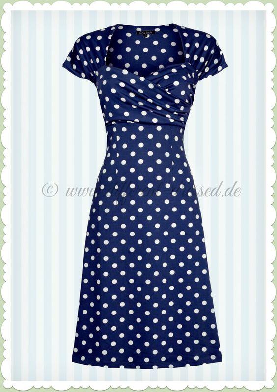 King Louie 50er Jahre Vintage Punkte Kleid - Ballroom Partypolka - Blau