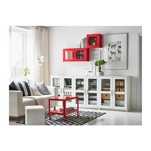 Brimnes armario de pared con vitrina rojo carritos de - Vitrina cristal ikea ...
