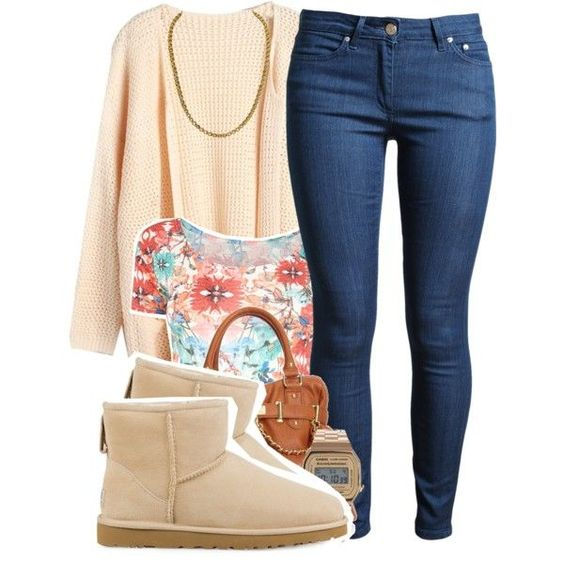 A fashion look from October 2014 featuring Acne Studios jeans, UGG Australia ankle booties and Steve Madden handbags. Browse and shop related looks.