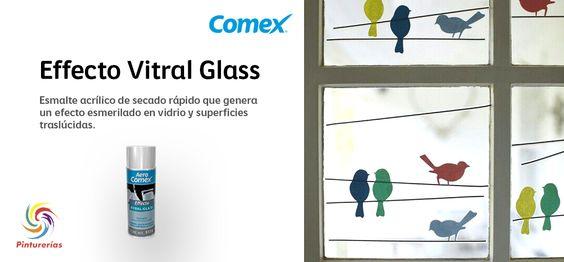 Effecto Vitral Glass, logra efecto esmerilado en vidrio y superficies traslúcidas. #ComexPinturerías #ProductosComex