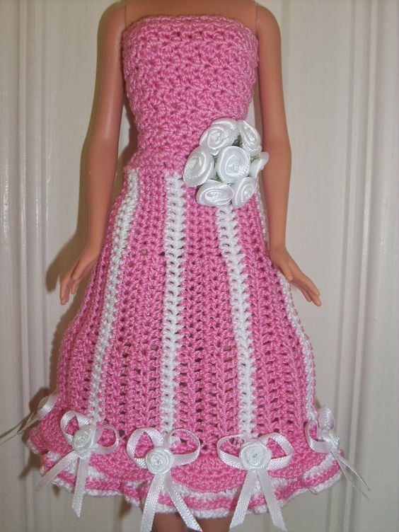 Crochet for Barbie (the belly button body type): Party/Bridesmaids Dress