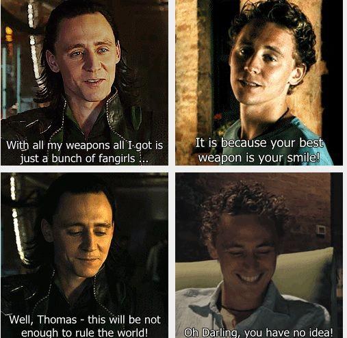 loki and tom having conversation avengers pinterest