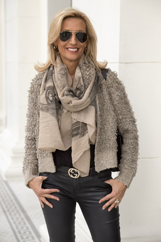 This week on my blog our Taupe Loopy Knit jacket and Taupe Black Paris Print Scarf both available in our shop www.jacketsociety.com