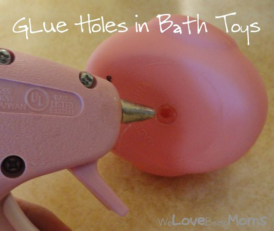 Glue bath toy openings to prevent mold from getting inside and you from having to clean them. Genius.
