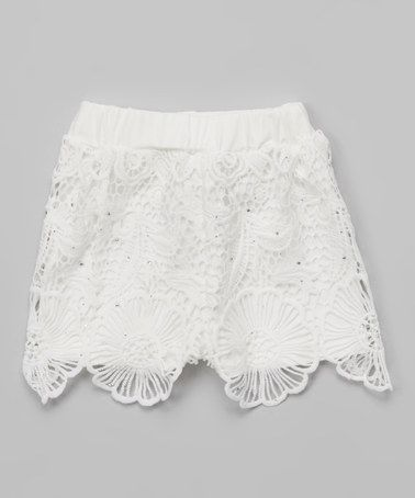 Blossom Couture White Floral Lace Shorts - Girls | Lace shorts ...