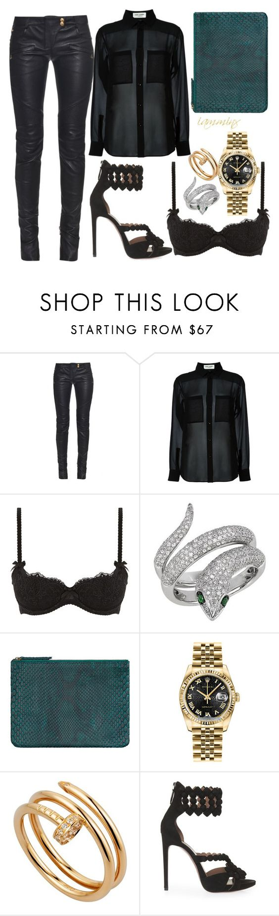 """""""Sheer"""" by iamminx ❤ liked on Polyvore featuring Balmain, Yves Saint Laurent, L'Agent By Agent Provocateur, Effy Jewelry, Rolex, Cartier and Alaïa"""