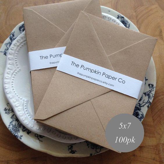 """5 x 7 enveloppes de A7 enveloppes Kraft 100pk rustique en vrac enveloppes des invitations de mariage carte making supplies taille réelle 5.1/4x7.1/4 """"133x184mm"""