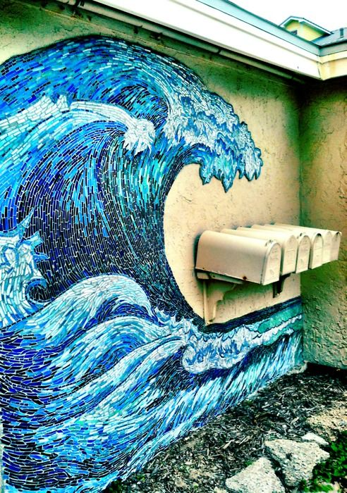 Great Wave Stained Glass Mosaic Mural Ideas Pinterest