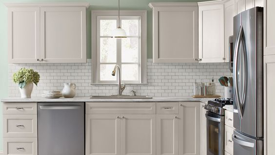 Shaker style mint green and subway tile backsplash on for White kitchen cabinets with crown molding