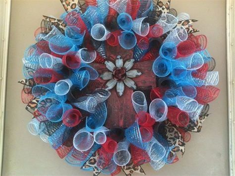 "24"", Red/Turquoise Flower Cross Spiral Mesh Wreath with Leopard Burlap Ribbon : $60 Made by Red-y Made Wreaths. Like & Follow us on Facebook https://www.facebook.com/pages/Red-y-Made-Wreaths/193750437415618 or Visit us at www.redymadewreaths.com"