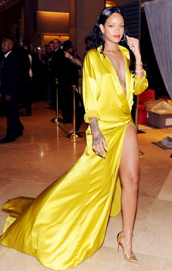 Rihanna wears Alexandre Vauthier gown at the Clive Davis' Annual Pre-Grammy Gala