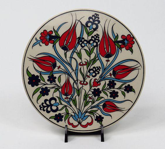 Handmade Ceramic Trivet-Turkish Ceramic by BeyondTheSeaUS on Etsy