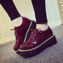 Zapatos Oxford para para 2016 Sapato informal Feminino plataforma del cuero de patente pisos dedo del pie redondo zapatos planos de la mujer Creepers cómodo(China (Mainland)):