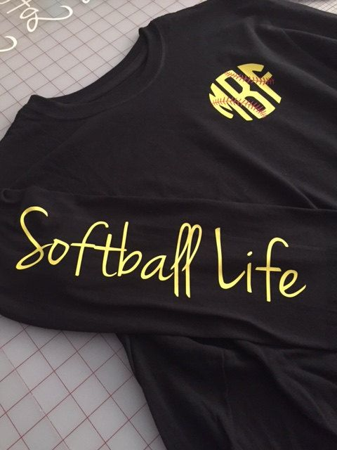 Softball Life Monogram Long Sleeve Shirt by GGWDesigns on Etsy