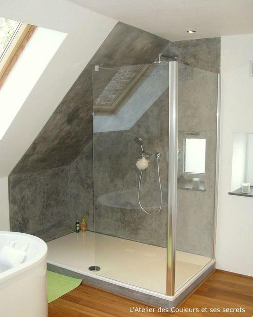 enduit style beton lisse dans une salle de bains sdb pinterest. Black Bedroom Furniture Sets. Home Design Ideas
