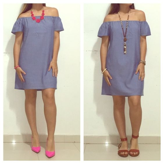 "Carmine Off Shoulder Dress✨ ❣ 100% Rayon Chambray Dress ❣ Fully lined ❣About 28"" from neckline to hem (small) ❣ Atid Clothing Dresses Strapless"
