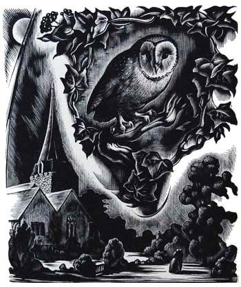 """Agnes Miller Parker (British, 1895-1980). From """"Elegy Written in a Country Church Yard"""" by Thomas Gray, 1937. (wood engraving)"""