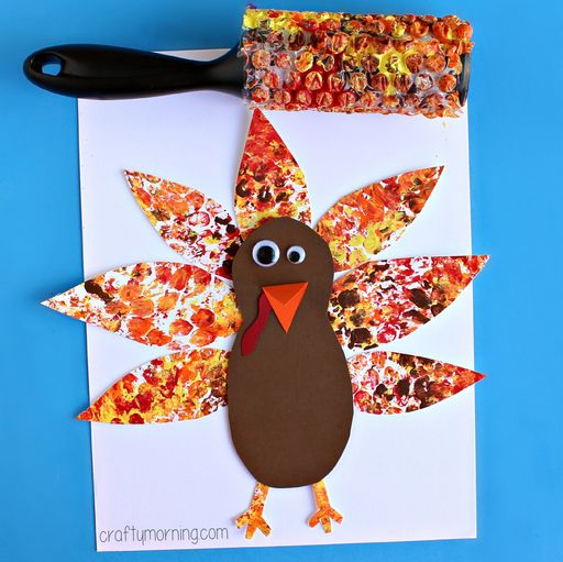 NOVEMBERS LESSON PLANBubble Wrap Printed Turkey Craft For Kids