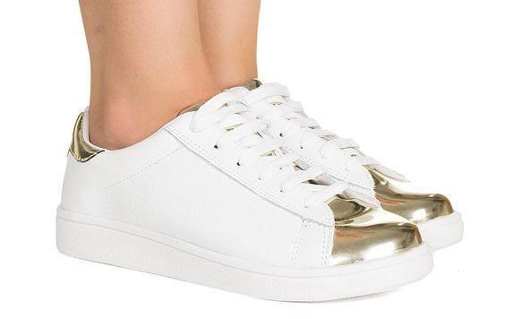 Tênis branco e dourado Taquilla