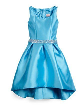 Sateen High-Low Dress w/ Rhinestone Belt, Blue, Size 7-14 by Zoe at Neiman Marcus.