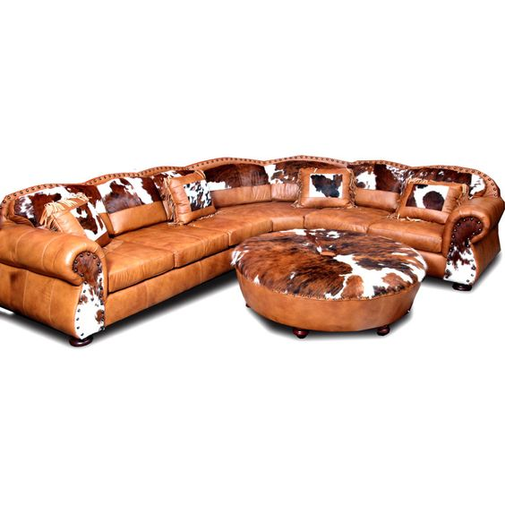 Western leather furniture texas ranch leather sectional for Large rustic sectional sofa
